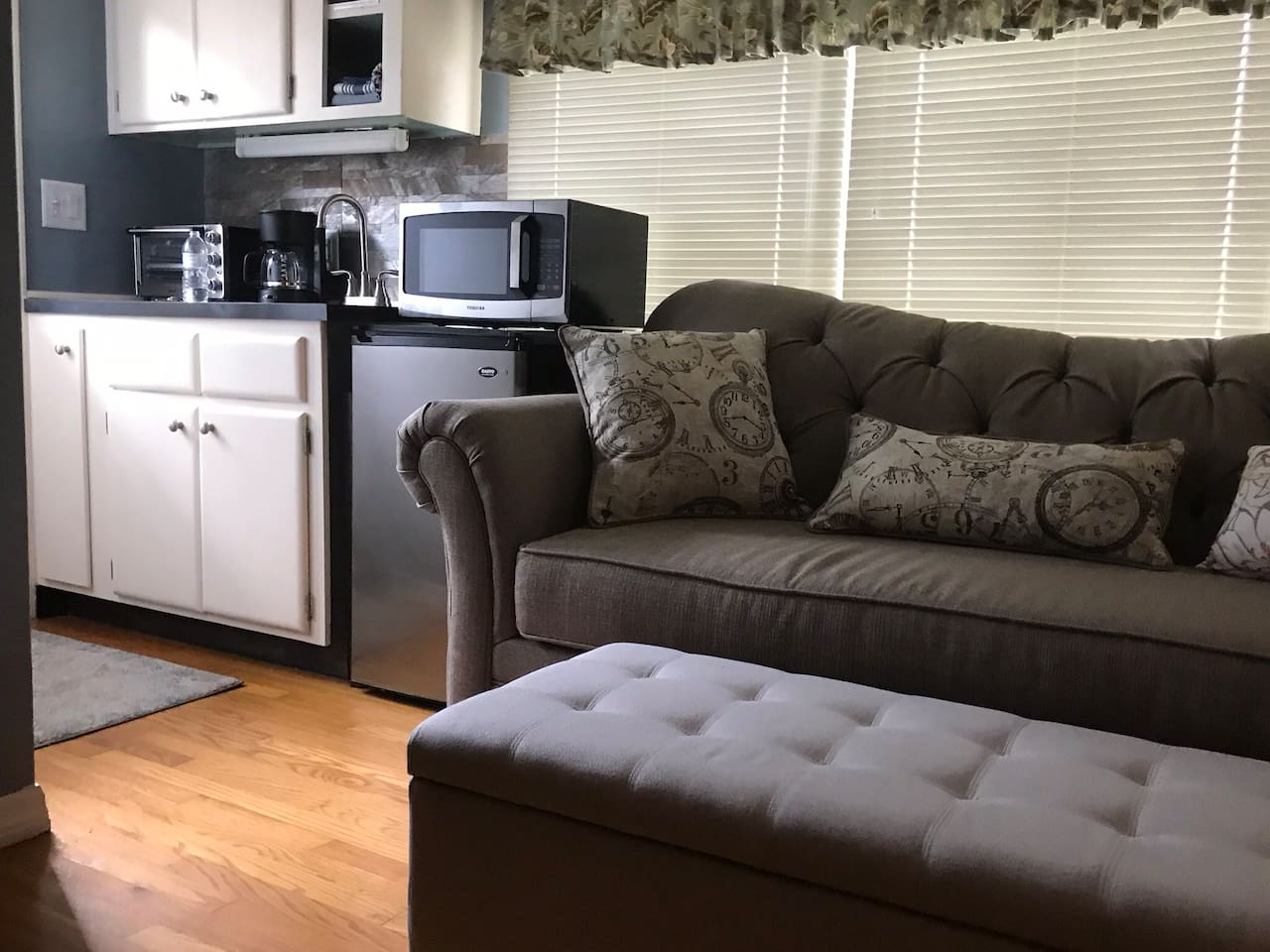 Comfy couch  Kitchenette has everything you need