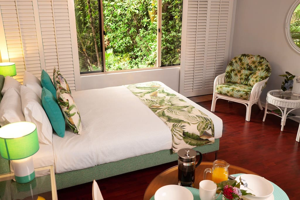 Wake up to view of tropical trees and dining birds
