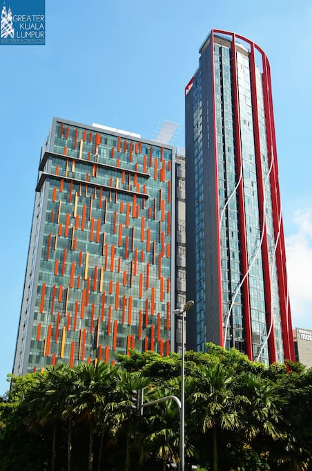 Left hand side is Qliq Hotel, Right hand side is our studio building
