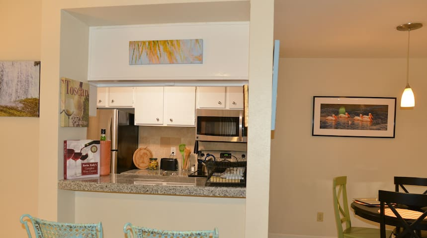 Bar looking into kitchen from living room