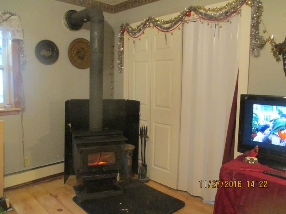 working fire place style wood stove  for relaxing, cosy visits