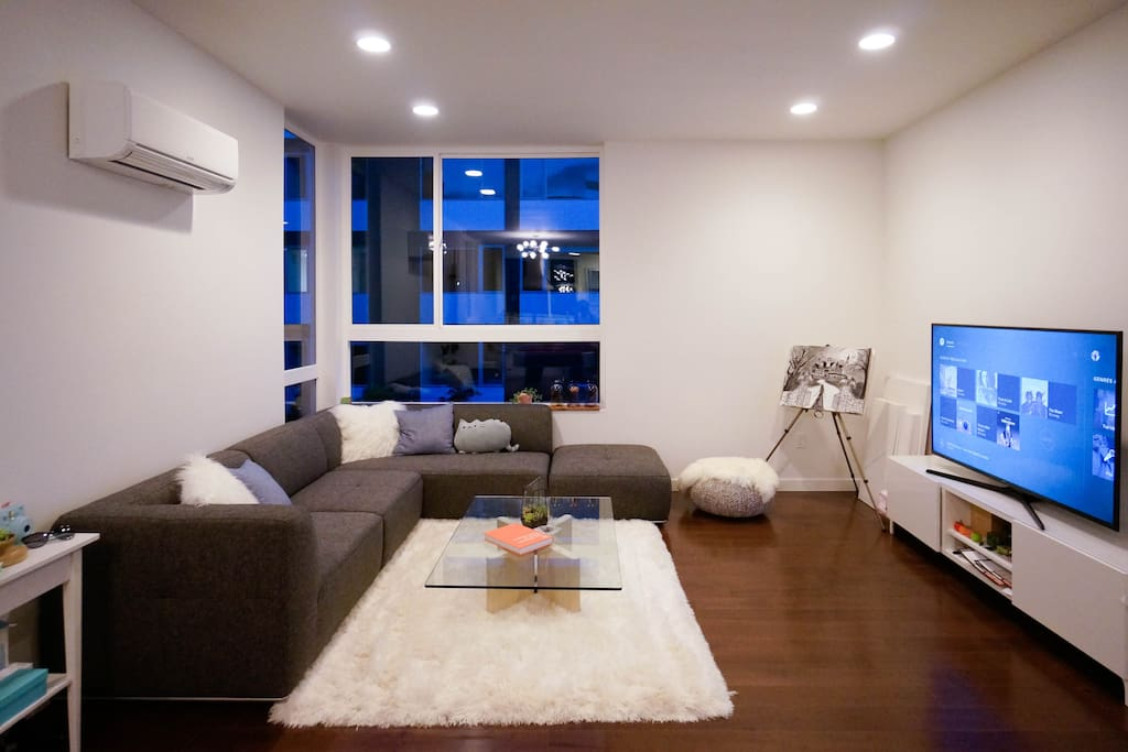 Spacious modern couch with smart TV