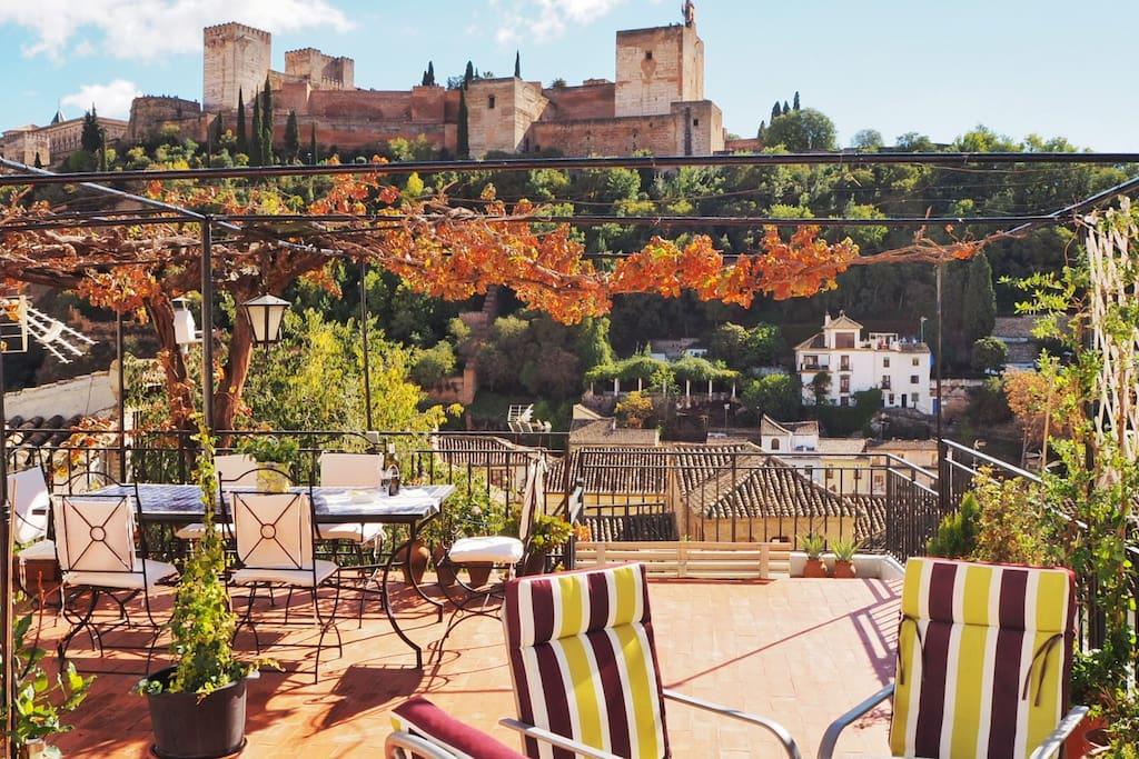 vistas de la Alhambra desde la terraza
