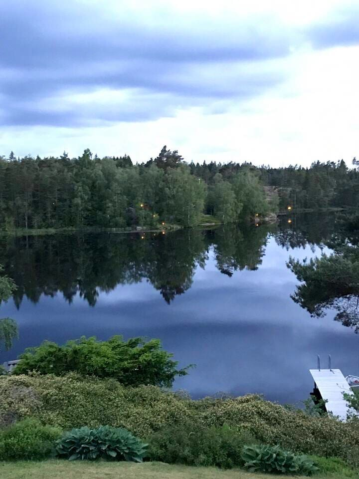 Beautiful view of lake Sandsjön from the terrace.