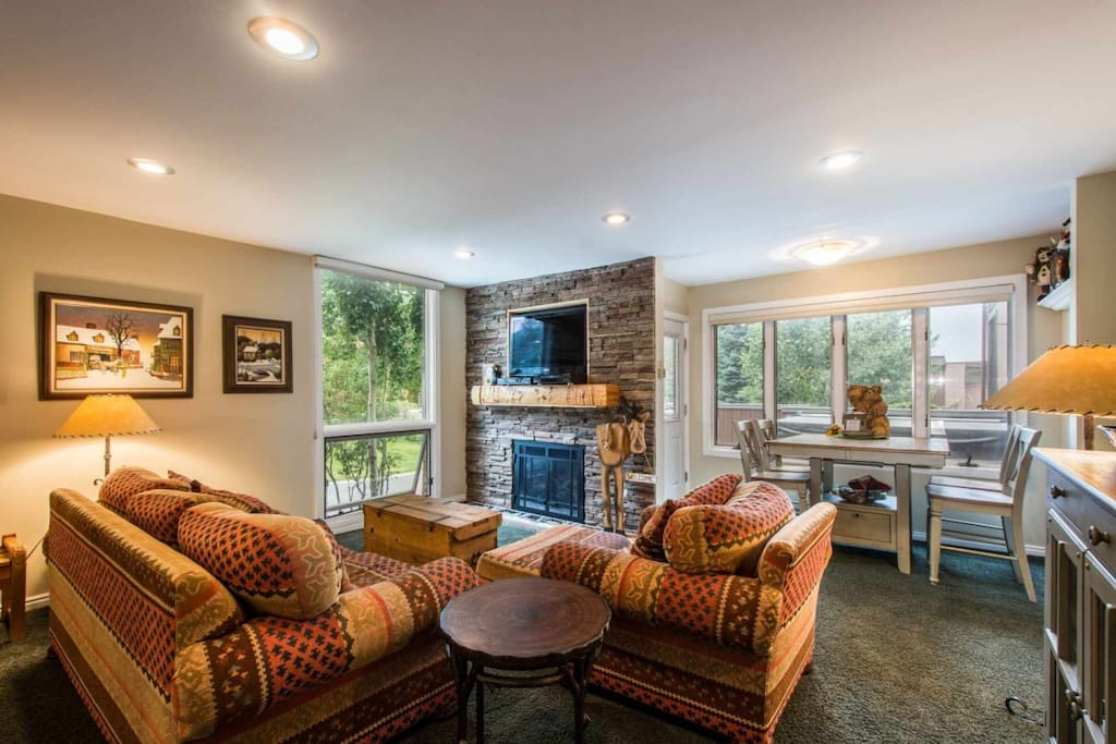 Our comfortable and inviting mountain condo has an open floor plan, and a private Jacuzzi hot tub on the secluded deck.