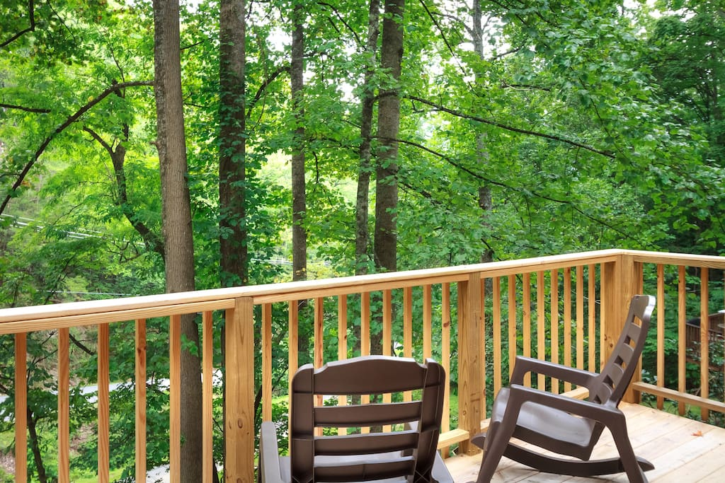 Relaxing deck among the trees