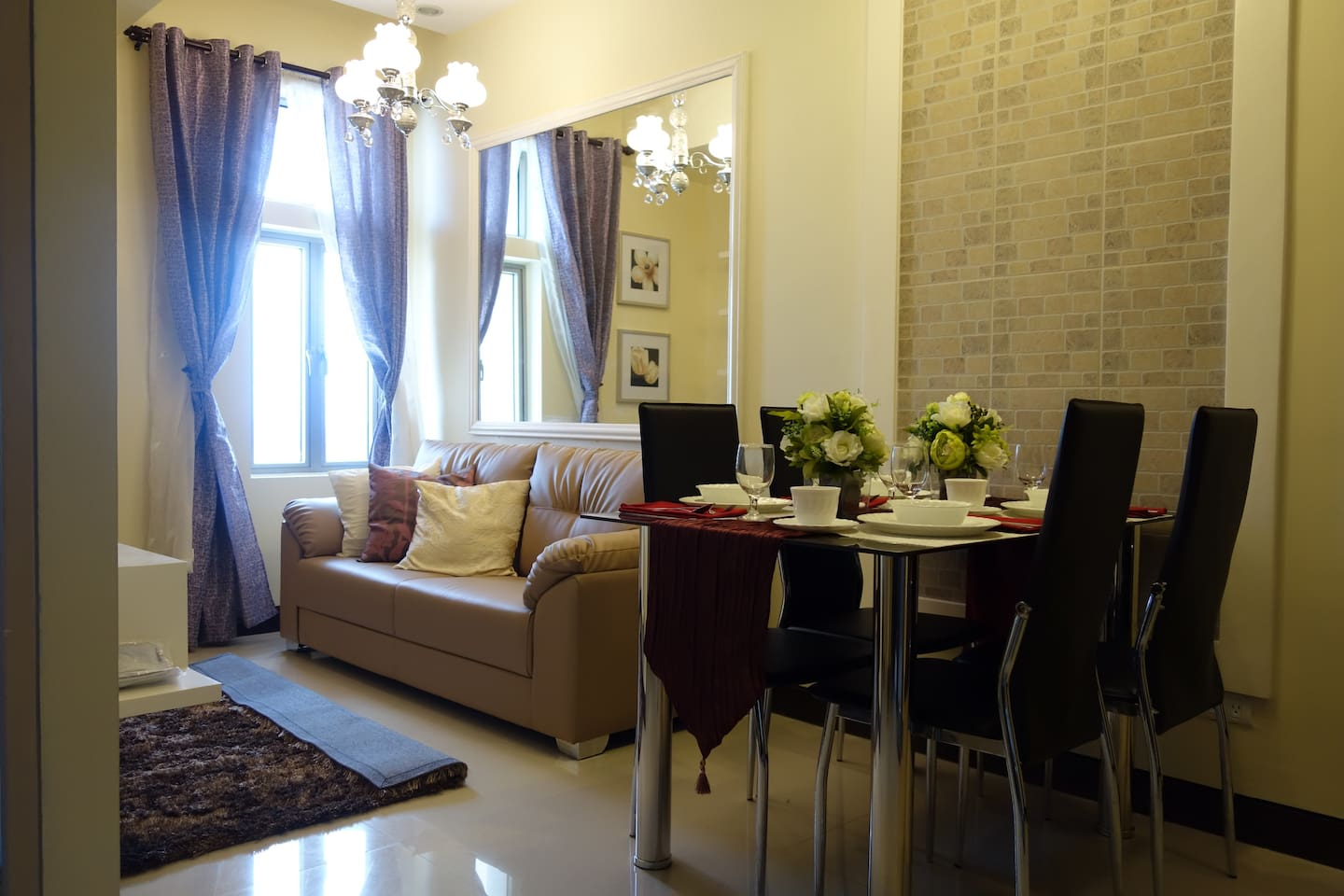 living space with dining