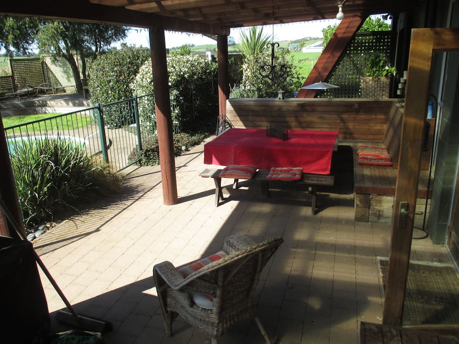Covered BBQ area and fully fenced pool