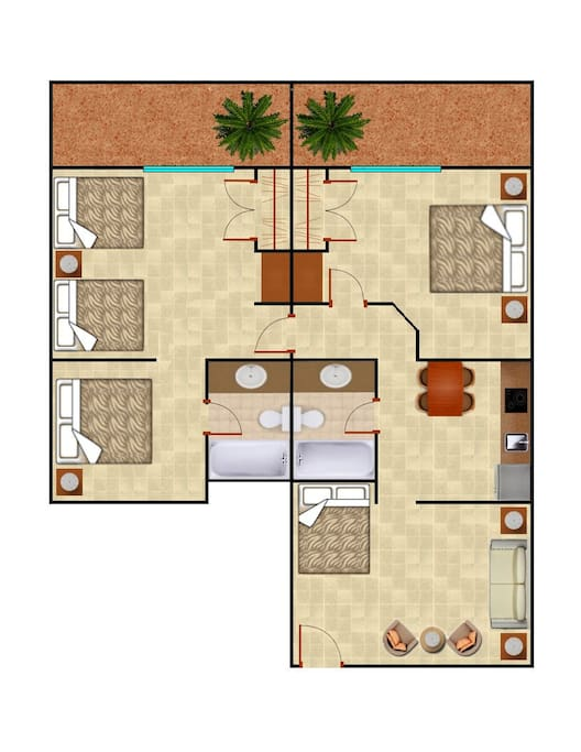 Layout and floorplan of the unit...has a full kitchen and 2 full bathrooms.  5 beds...2 King beds and 3 Full sized beds.  Sleeps 10 comfortably!