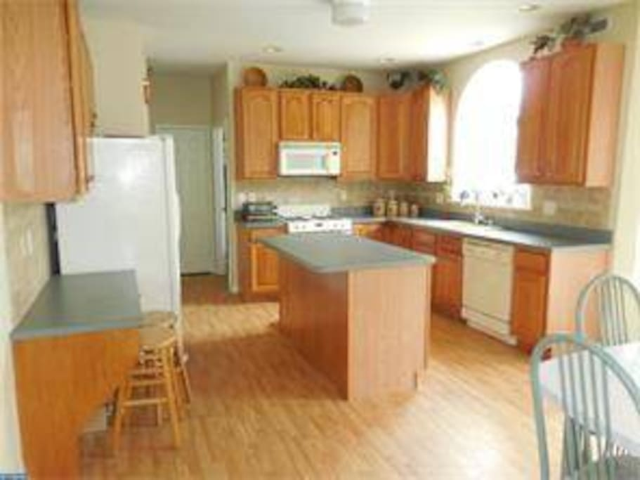Kitchen has available to you pots, pans, plates, silverware, glasses, pantry to store canned and dry foods, and fridge/freeze. Straight back behind where the microwave is, is where the laundry room is located.