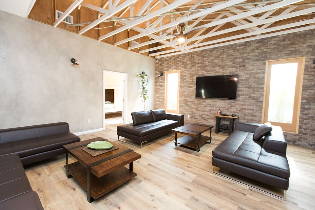 Home Base: Open ceilings, comfy couches and brick wall. Perfect for your group.