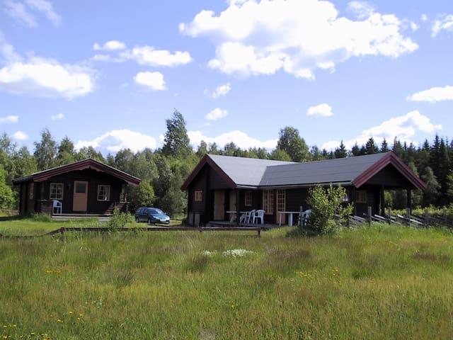 Stor tømmerhytte ved Glomma og Norsk Skogmuseum. - Elverum