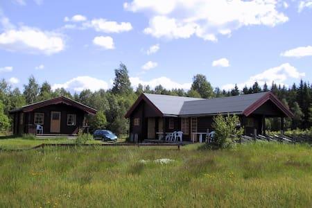Stor tømmerhytte ved Glomma og Norsk Skogmuseum. - Srub