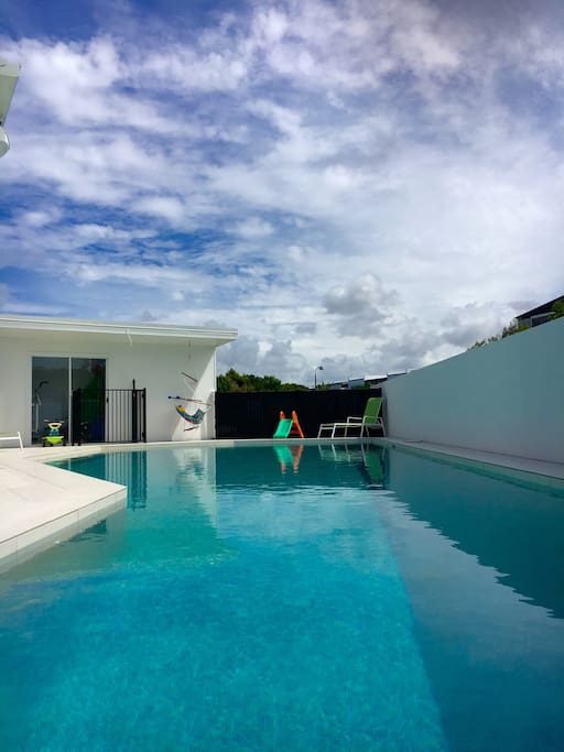 Large 13m long lap pool, shared between two duplexes