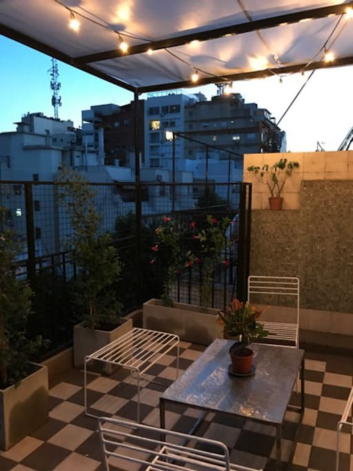 "Great terrace to have a typical dinner like ""empanadas"" with a wonderful argentine wine and ""helado de Freddo"" a delicious dessert you can get just around the corner."