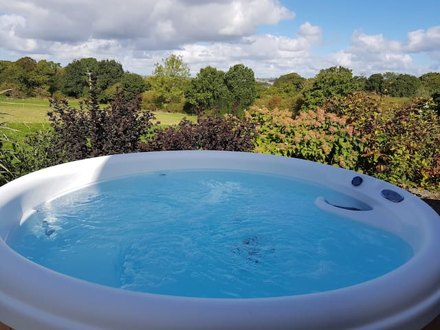 The view over surrounding countryside from the hot tub.