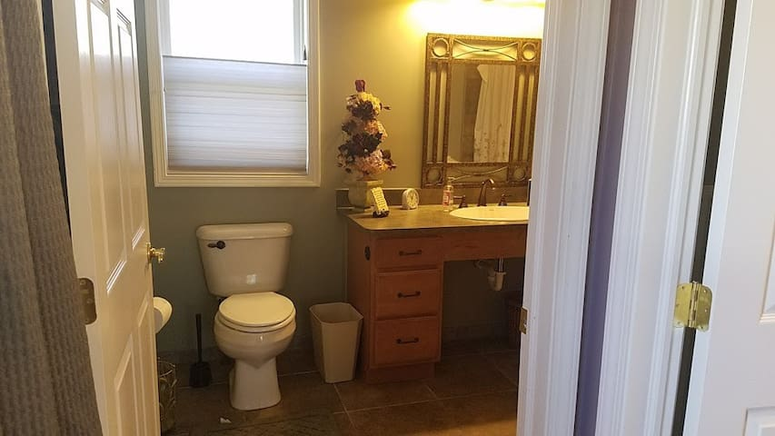Very large private bathroom. Linens, towels, blowdryer and soap supplied