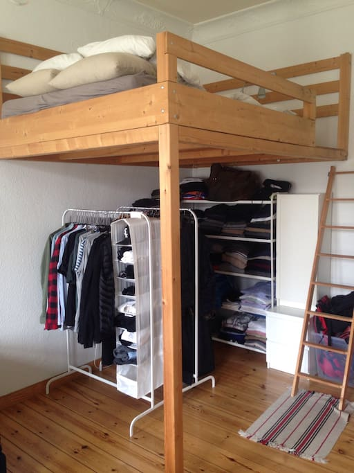 A super stable highbed, but with a super comfy mattress, below my wardrobe.