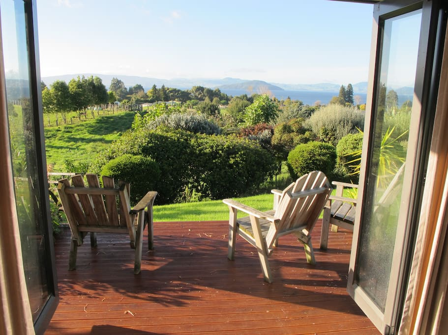 Enjoy breakfast out on the sunny deck off the lounge