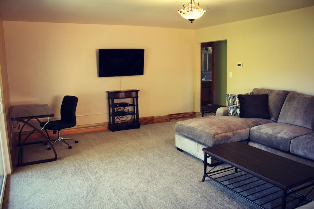 Front room has Television with all of the amenities and Secure Wi-Fi