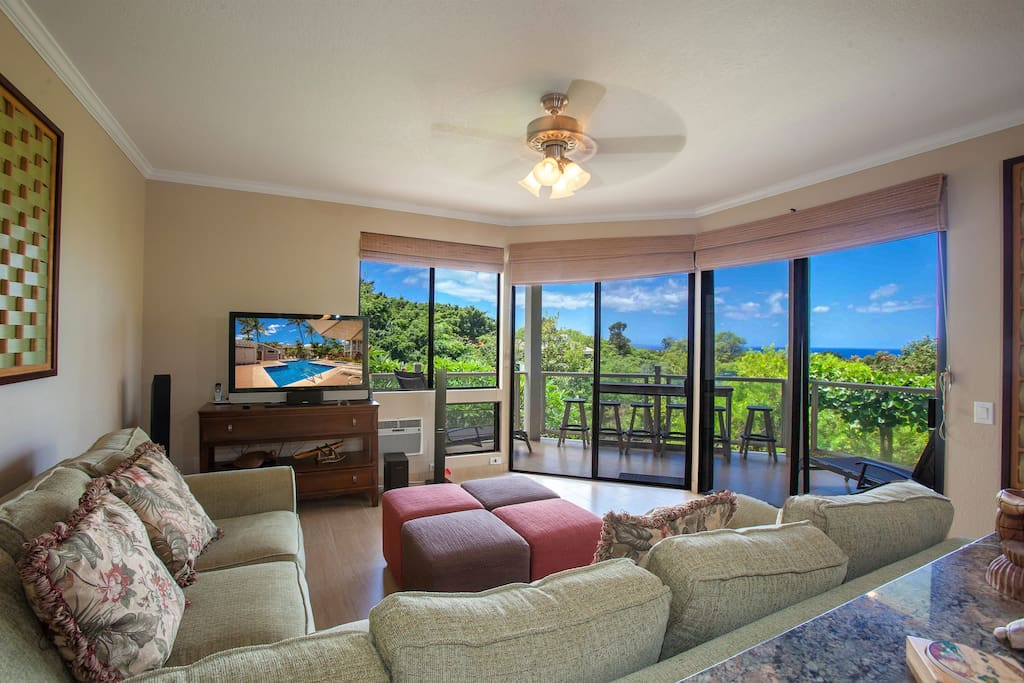 Views out the lanai from the family room.