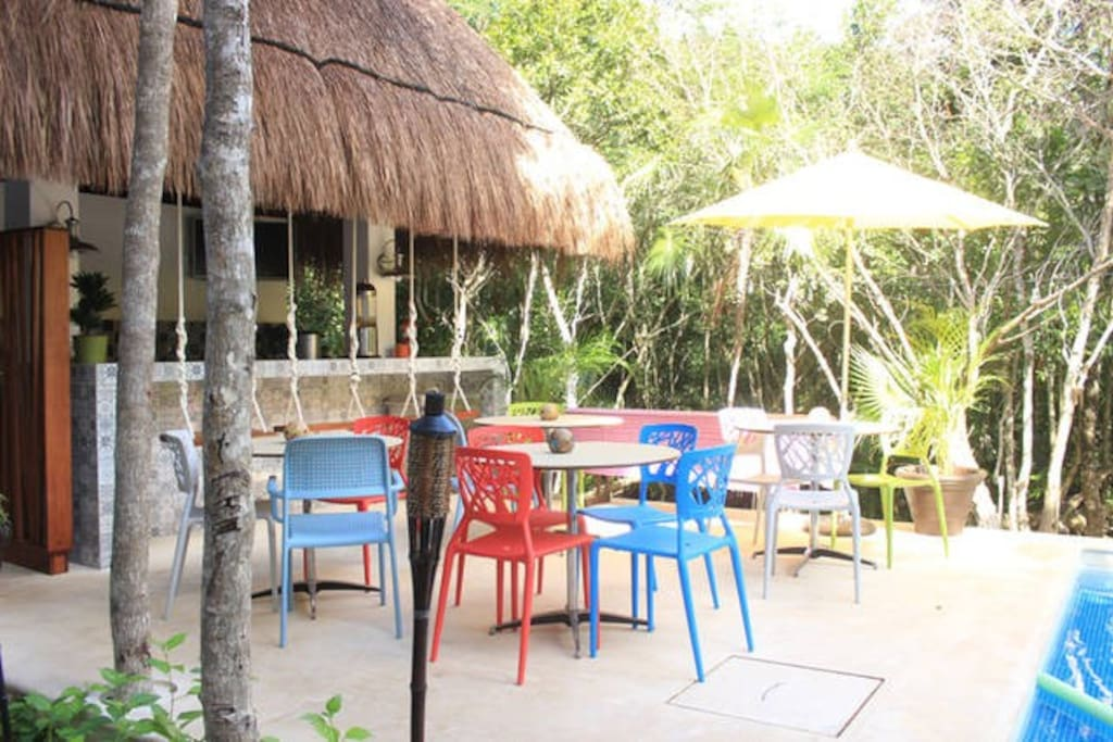 Palapa by the pool - where breakfast is served every morning.