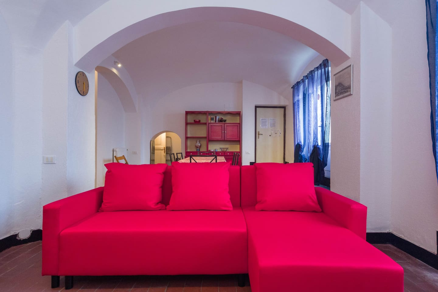 The luminous living space with a brand new sofa bed for your extra guests