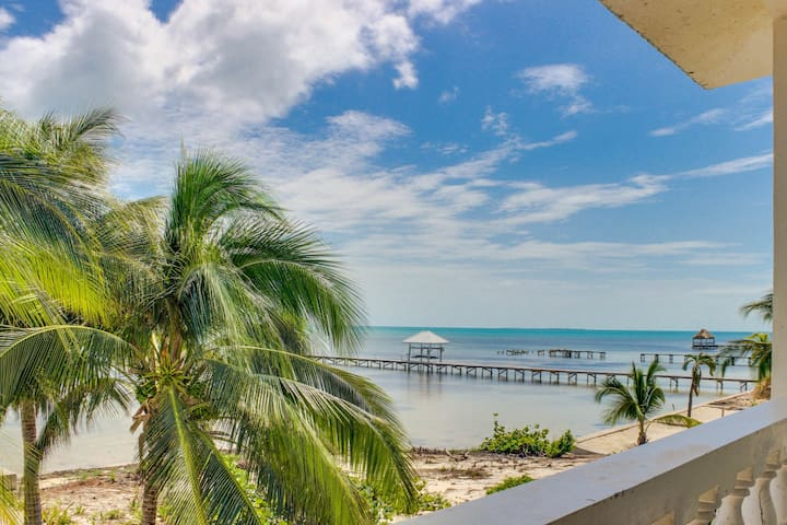 Stunning oceanfront villa with private pool, dock, & relaxing balcony!