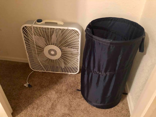 This will be the laundry basket and fan that you are free to use (if you want)!