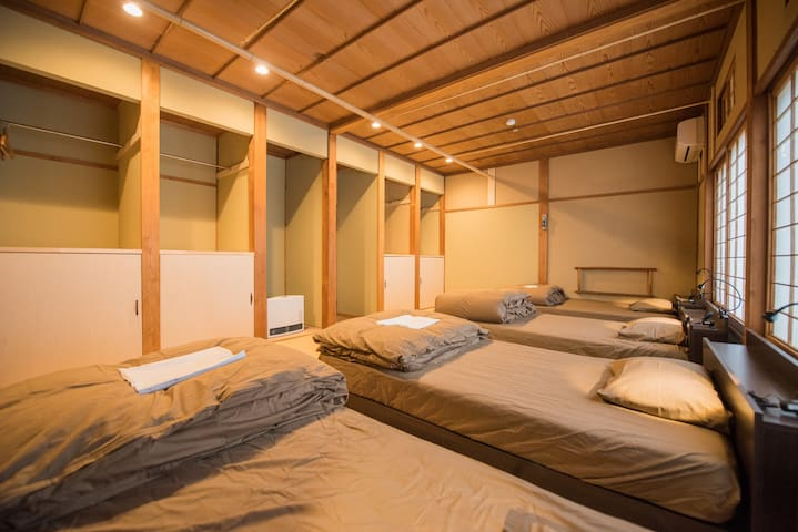 Traditional Japanese room with low beds for 4ppl