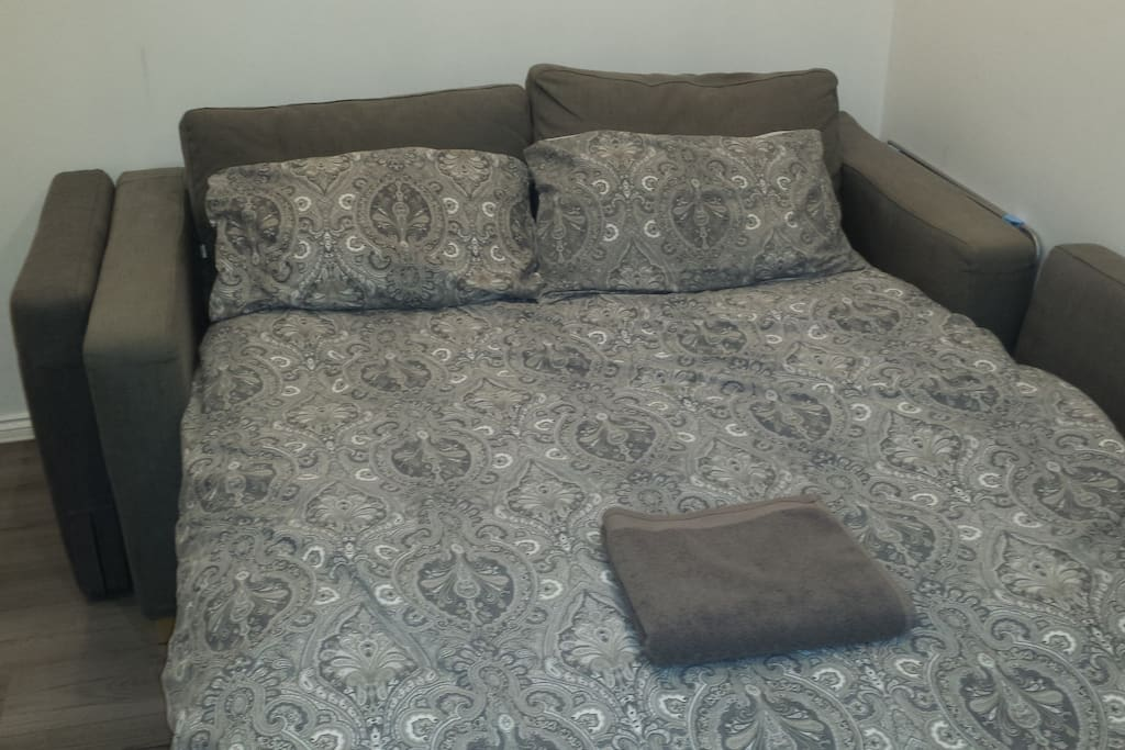 Main Bedroom has quality sofabed which is full double bed