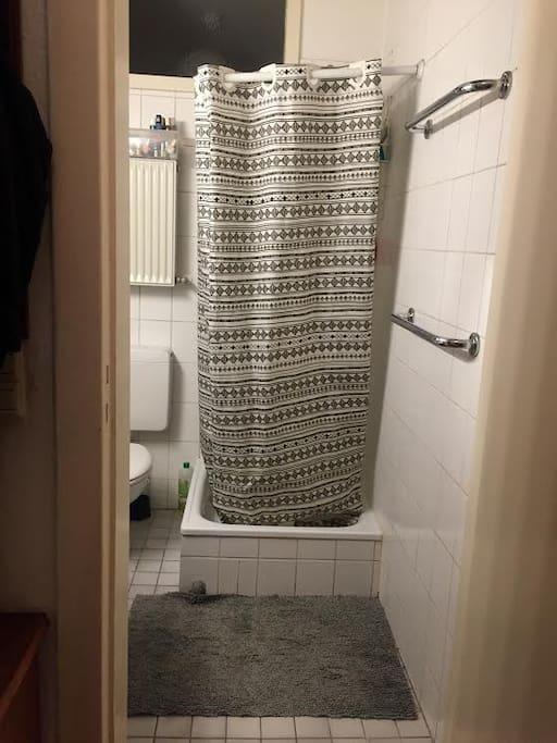 Badezimmer mit Dusche, gemeinsam genutzt