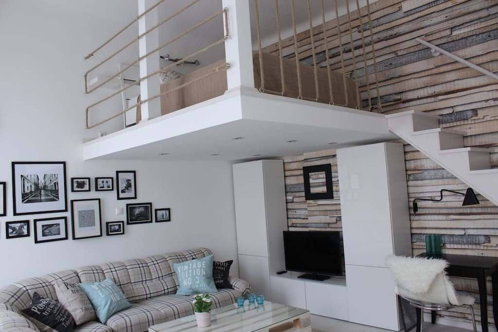 Pull out sofa bed and loft bed