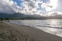The beach in front of the Hanalei Beach House