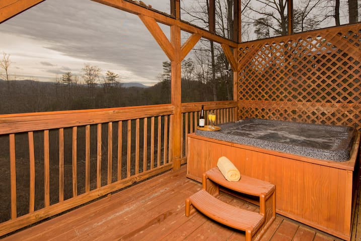 Fully Covered and Screened Deck with Hot Tub