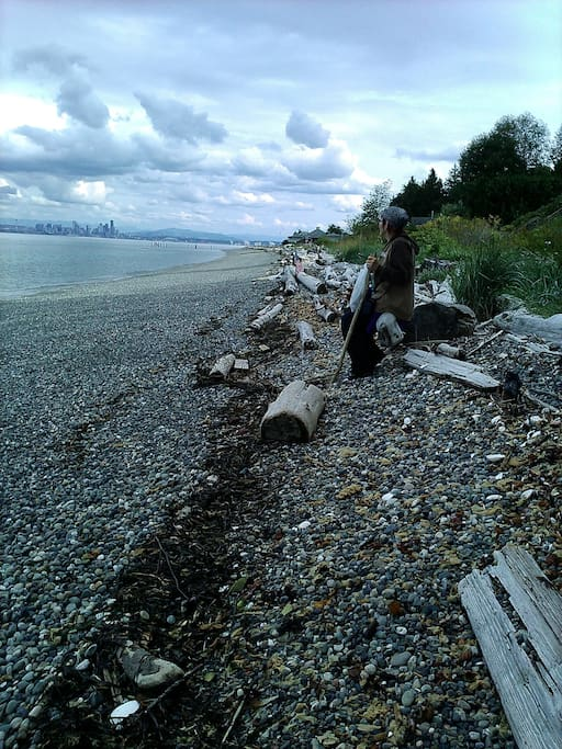 Beach walk with view of Seattle