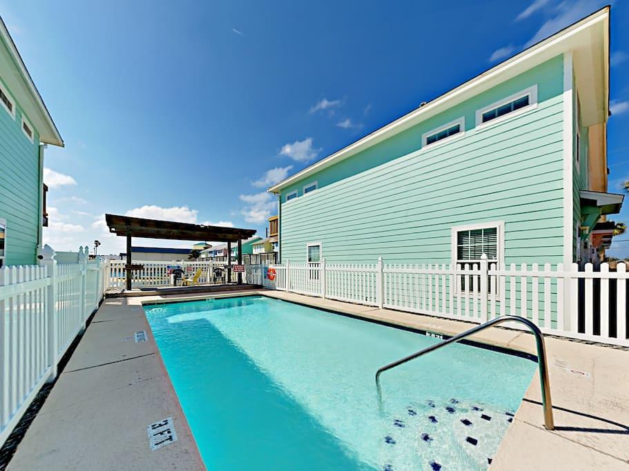 Make a splash in the complex swimming pool.