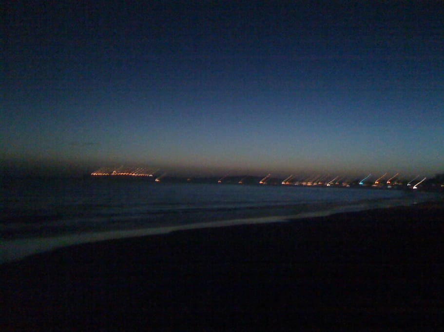 Nighttime view from the beach looking towards Princeton Harbor