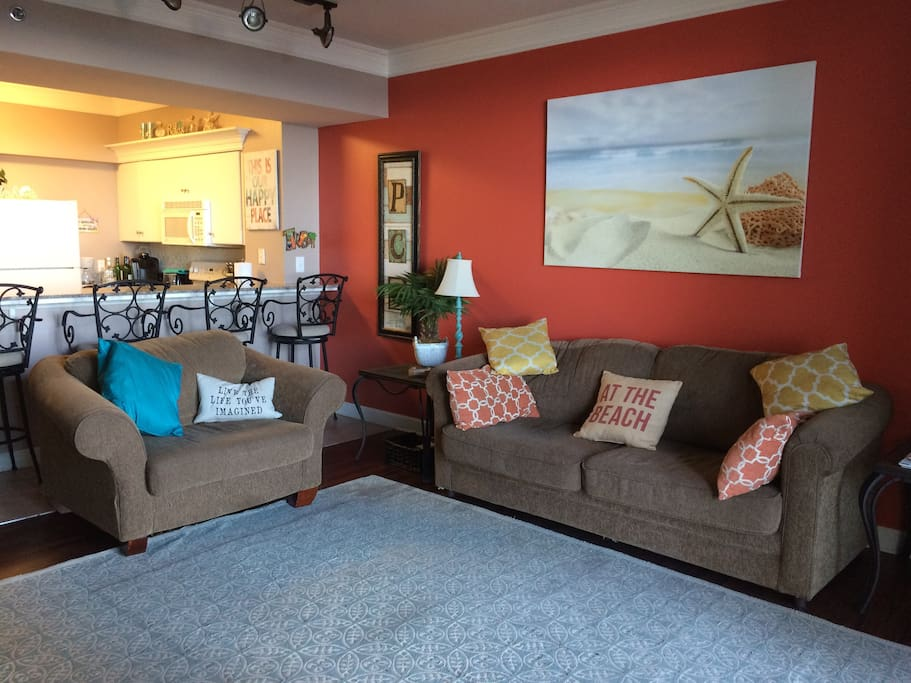 Cozy living room with pull-out sleeper sofa