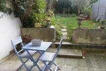 terrasse en hiver avec le jardin