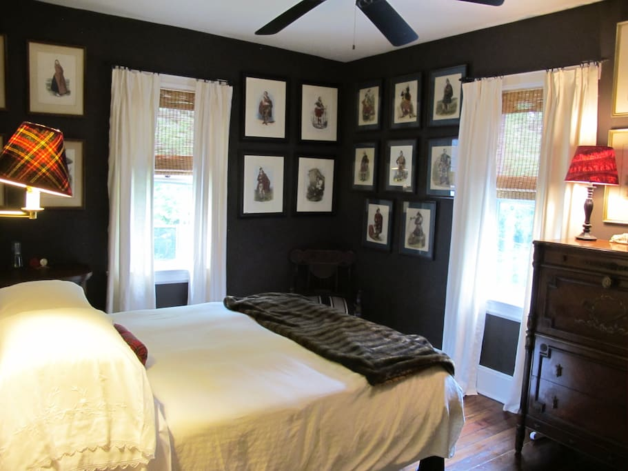 Your room with queen sized bed and decorated with prints of Scottish clansmen