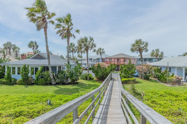 SCV 38 2BR 1Bath Bohemian Coastal Cottage in Ocean Front Community with Private Boardwalk to Beach, Pool on Property and Pet Friendly