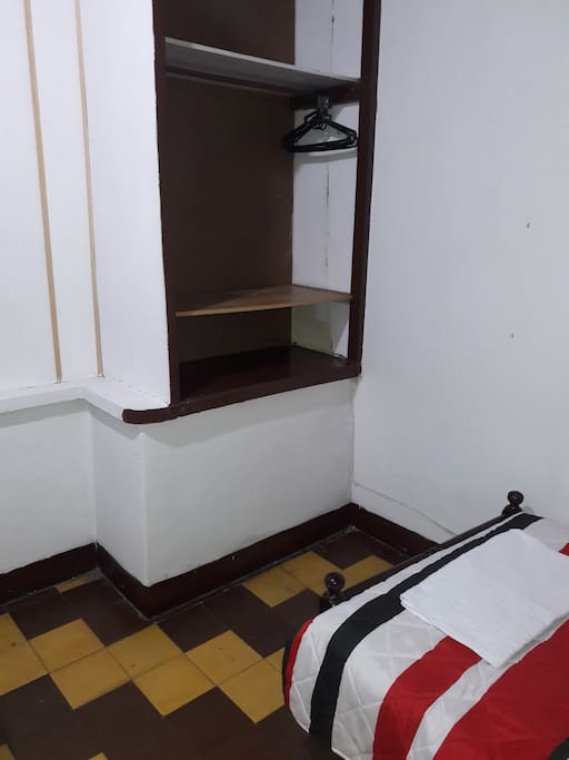 The room has one bed and one closet for your comfort.