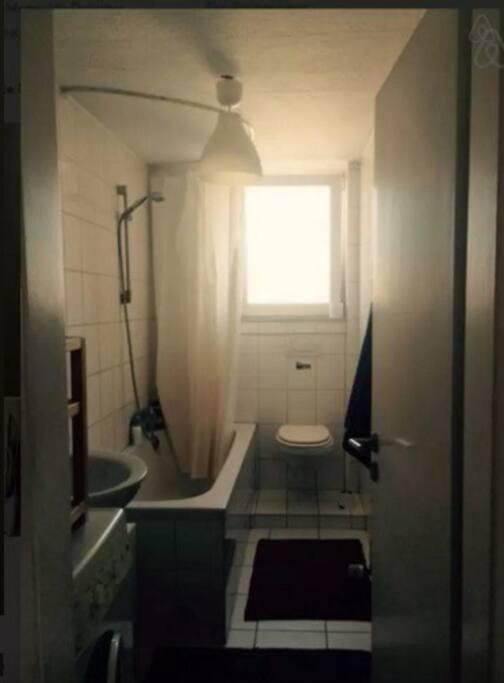 Bad mit Dusche, Waschmaschine und Föhn.