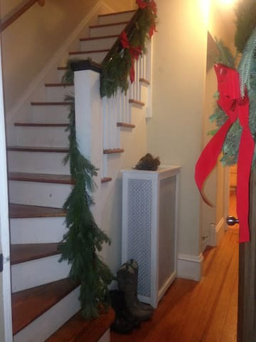 Front entry way decorated for the holidays!