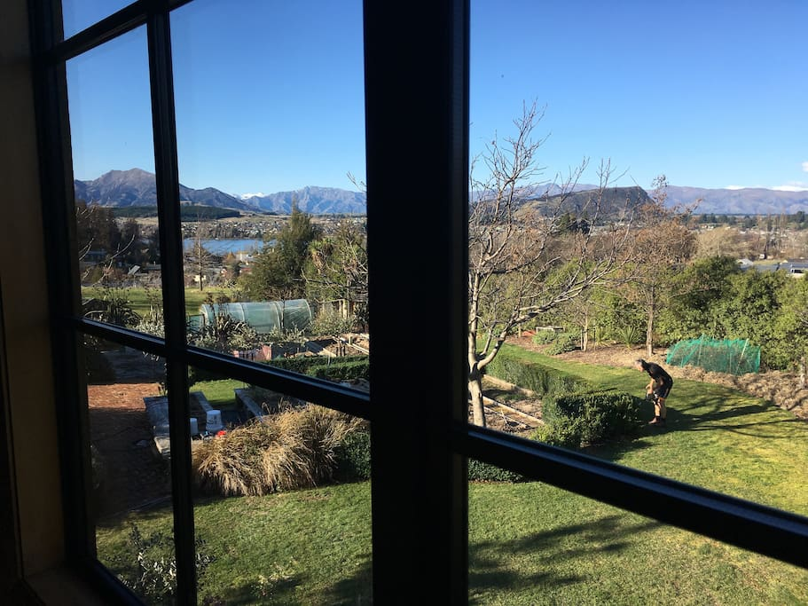 View of lake, mountains and garden from upstairs