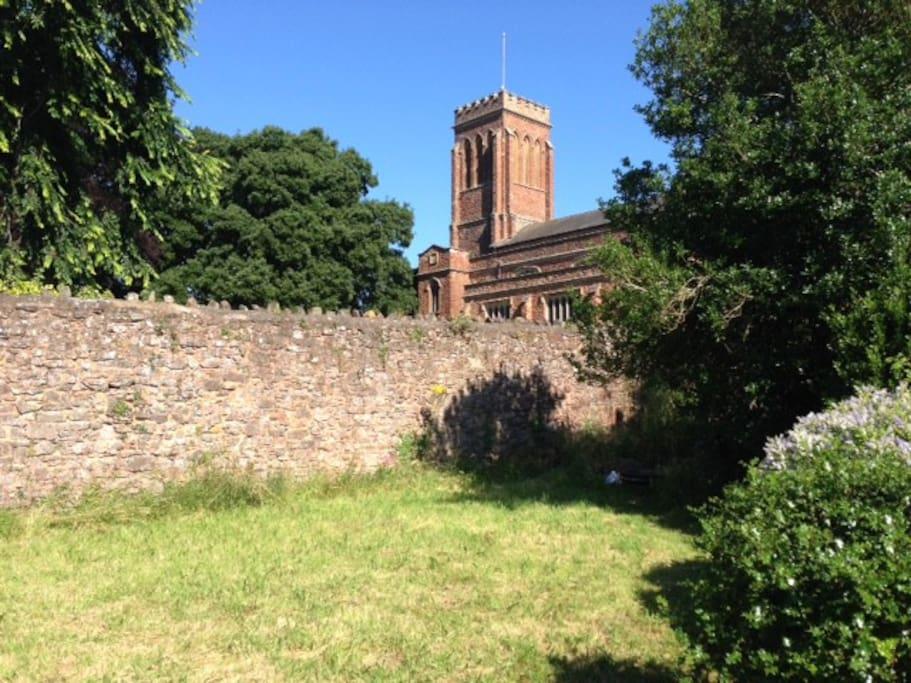 View of Church in Garden