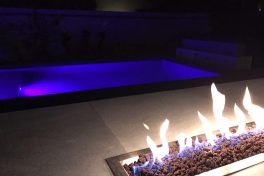 Backyard heated pool and island fire bar