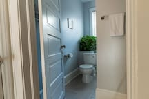 Entrance to the bathroom, which was recently remodeled. We stock the bathroom with 100% cotton towels/linens.