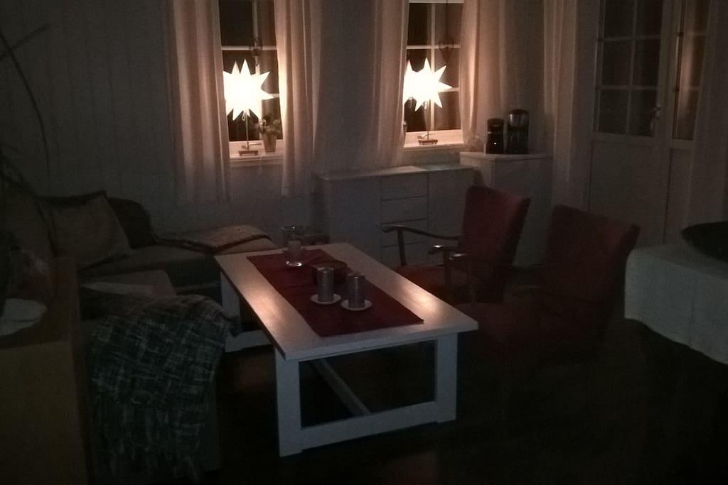 Her ser vi Stuen, som har en sovesofa med Plass til 2 pers.